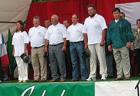Rita, Guntis, Pēteris, Ainārs, Normunds un Gundars Eiropas čempionātā Ungārijā.