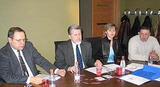 Pirmā preses konference. Valdis H., Jānis S. Gaļina G., Egons S.